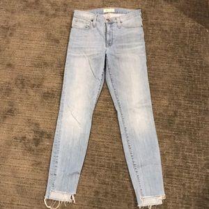 Madewell Light Wash Skinny Jeans with Raw Hem